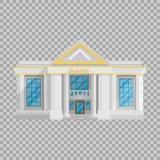 Costruzione della Banca piana nello stile su un'illustrazione trasparente di vettore del fondo L'istituzione che tiene i soldi illustrazione di stock