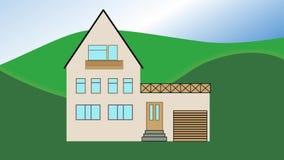 Costruzione della Camera Costruzione animata della casa in campagna con l'albero Film di pubblicità per la costruzione o la socie illustrazione di stock