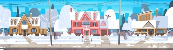 Costruzione della Camera del paesaggio di inverno del villaggio con la neve sulla via superiore del sobborgo della città o della  illustrazione di stock