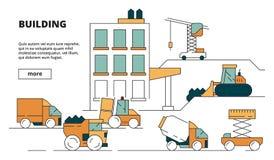 Costruzione della Camera Immagine lineare di costruzione pesante di concetto dell'illustrazione del fondo delle macchine per il p royalty illustrazione gratis
