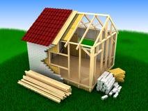 Costruzione della casa di legno Immagine Stock Libera da Diritti