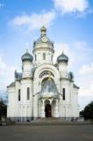 Costruzione della chiesa ortodossa russa in Bielorussia Fotografie Stock