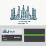 Costruzione della città, progettazione di logo per la società Logotype con il modello del biglietto da visita Fotografie Stock