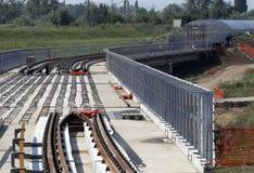 Costruzione della ferrovia della metropolitana Fotografia Stock