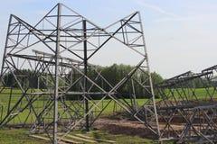 Costruzione della linea elettrica ad alta tensione torre Fotografia Stock Libera da Diritti