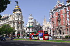 Costruzione della metropoli su Gran tramite st a Madrid Immagine Stock Libera da Diritti