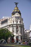 Costruzione della metropoli su Gran tramite st a Madrid Fotografia Stock