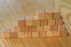 Costruzione della parete dai mattoni di legno per costruzione o il landscapi Fotografia Stock Libera da Diritti