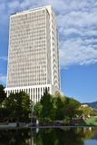 Costruzione della sagrestia al quadrato del tempio a Salt Lake City, Utah immagine stock