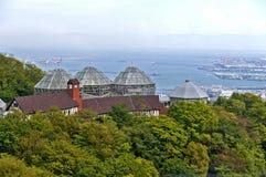 Costruzione della serra di Nunobiki Herb Garden sul supporto Rokko a Kobe, Giappone Fotografia Stock