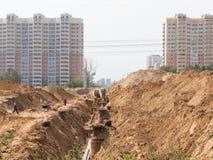 Costruzione della strada ad una nuova area Immagine Stock Libera da Diritti