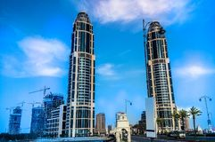 Costruzione della torre del Qatar fotografie stock