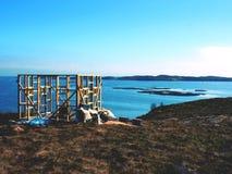 Costruzione della torre di osservazione dell'uccello Costruzione della torre dell'allerta per il conteggio degli uccelli di rimor Fotografie Stock Libere da Diritti