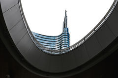 Costruzione della torre di Unicredit a Milano Fotografia Stock