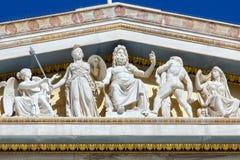 Costruzione dello srhythm di Grek con le statue Fotografia Stock Libera da Diritti