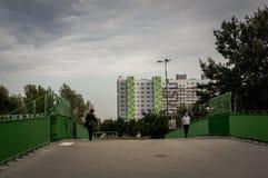 Costruzione di appartamento e della gente Immagine Stock Libera da Diritti