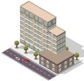 Costruzione di appartamento isometrica dell'hotel di vettore Fotografie Stock Libere da Diritti