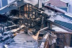 Costruzione di appartamento nociva dopo bruciato da fuoco nel Texas, U.S.A. fotografie stock libere da diritti