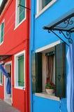 Costruzione di appartamento variopinta in Burano, Venezia, Italia Fotografie Stock