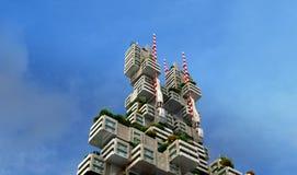 costruzione di appartamento verde futuristica 3D Immagine Stock