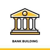 COSTRUZIONE di BANCA lineare dell'icona della finanza, attività bancarie Pittogramma nel outl Fotografie Stock Libere da Diritti