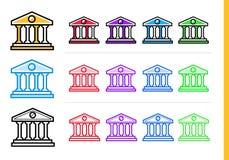 COSTRUZIONE di BANCA lineare unica delle icone della finanza, attività bancarie Ou moderno Immagini Stock Libere da Diritti