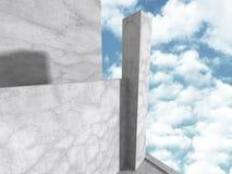 Costruzione di calcestruzzo di architettura Backgroun geometrico astratto Immagini Stock Libere da Diritti