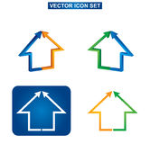 Costruzione di colore ed insieme dell'icona della casa Immagine Stock