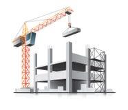 Costruzione di edifici con la gru Immagine Stock