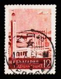 Costruzione di Filippopoli, posta di posta aerea, serie giusti delle costruzioni e dei paesaggi, circa 1954 Fotografie Stock Libere da Diritti