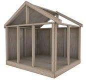 Costruzione di legno domestica della nuova costruzione del fondamento della casa di legno Immagine Stock