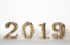 Costruzione di legno rustica 2019, spazio della copia, neve della lettera immagini stock