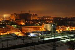Costruzione di notte, Kiev Immagini Stock