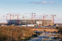 Costruzione di nuovo stadio di football americano a Rostov-On-Don La Russia Fotografia Stock