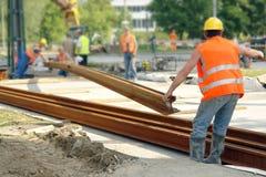 Costruzione di pista della linea tranviaria Fotografia Stock Libera da Diritti