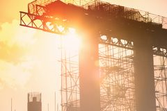 Costruzione di ponte d'acciaio Immagini Stock