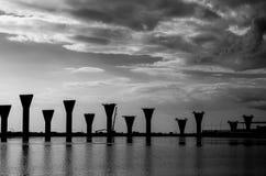 Costruzione di ponte di sostegno nel golfo di Finlandia Fotografie Stock Libere da Diritti