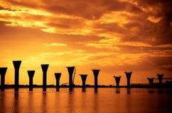 Costruzione di ponte di sostegno nel golfo di Finlandia Immagini Stock Libere da Diritti