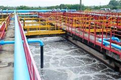 Costruzione di pulizia per un trattamento delle acque Fotografie Stock Libere da Diritti