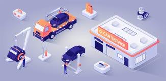 Costruzione di servizio dell'automobile con i meccanici al vettore del lavoro illustrazione vettoriale