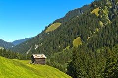 Costruzione di stoccaggio nella valle di Safien, Grigioni, Svizzera Immagini Stock Libere da Diritti