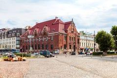 Costruzione di Suomen Pankki sul quadrato del mercato in Vyborg, Russia Fotografia Stock