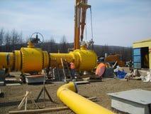 Costruzione di un petrolio e di un gasdotto Fotografia Stock Libera da Diritti