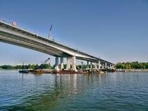 Costruzione di un ponte sopra Don River Fotografie Stock