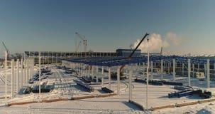 Costruzione di una fabbrica o di un magazzino moderna, industriale moderno esteriore, vista panoramica, deposito moderno stock footage