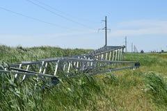 Costruzione di una linea elettrica ad alta tensione Fotografia Stock Libera da Diritti