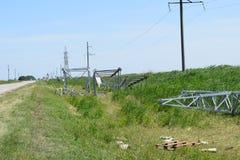 Costruzione di una linea elettrica ad alta tensione Fotografia Stock