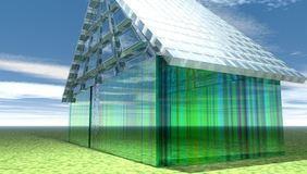Costruzione di vetro futuristica Fotografia Stock