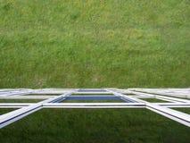 Costruzione di vetro rispecchiata L'erba è riflessa nelle finestre Immagini Stock