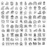 Costruzione disegnata a mano e bene immobile sulla linea audace e sottile icone illustrazione di stock